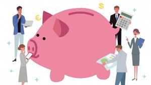 巨大な豚の貯金箱(イラスト)