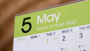 5月カレンダー(イメージ)