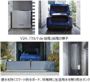 クルマde給電、スマート防水ボード、雨水タンク